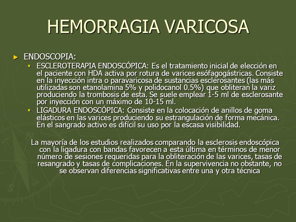 HEMORRAGIA VARICOSA ENDOSCOPIA: ENDOSCOPIA: ESCLEROTERAPIA ENDOSCÓPICA: Es el tratamiento inicial de elección en el paciente con HDA activa por rotura