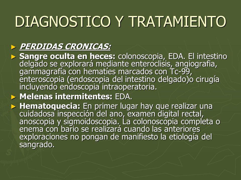 DIAGNOSTICO Y TRATAMIENTO PERDIDAS CRONICAS: PERDIDAS CRONICAS: Sangre oculta en heces: colonoscopia, EDA. El intestino delgado se explorará mediante