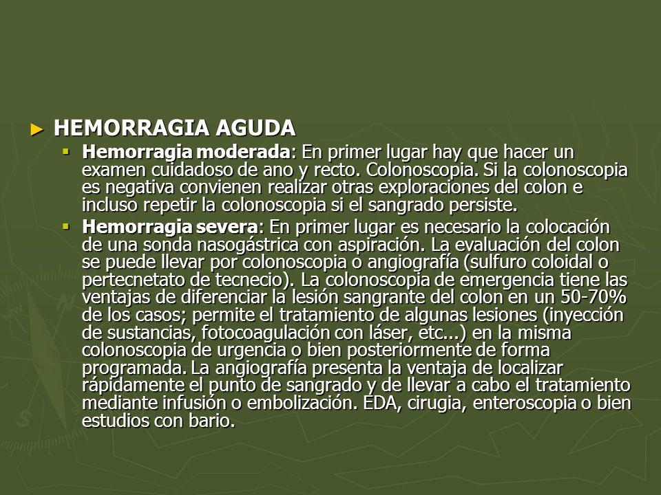 HEMORRAGIA AGUDA HEMORRAGIA AGUDA Hemorragia moderada: En primer lugar hay que hacer un examen cuidadoso de ano y recto. Colonoscopia. Si la colonosco