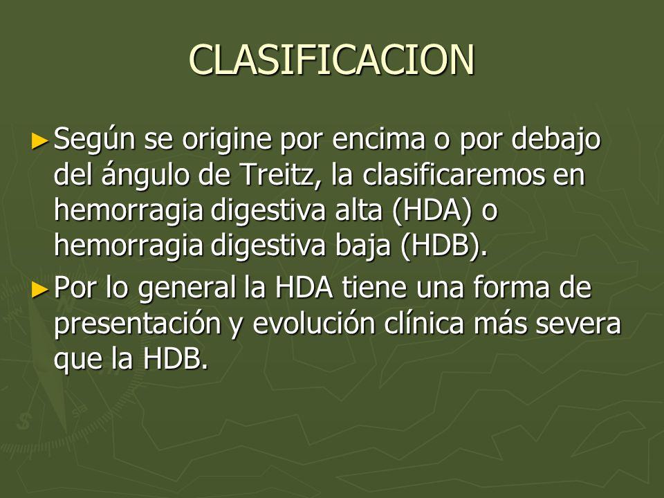 CLASIFICACION Según se origine por encima o por debajo del ángulo de Treitz, la clasificaremos en hemorragia digestiva alta (HDA) o hemorragia digesti