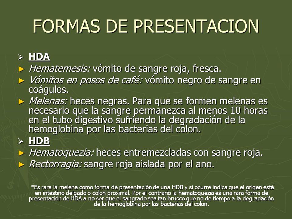 FORMAS DE PRESENTACION HDA HDA Hematemesis: vómito de sangre roja, fresca. Hematemesis: vómito de sangre roja, fresca. Vómitos en posos de café: vómit