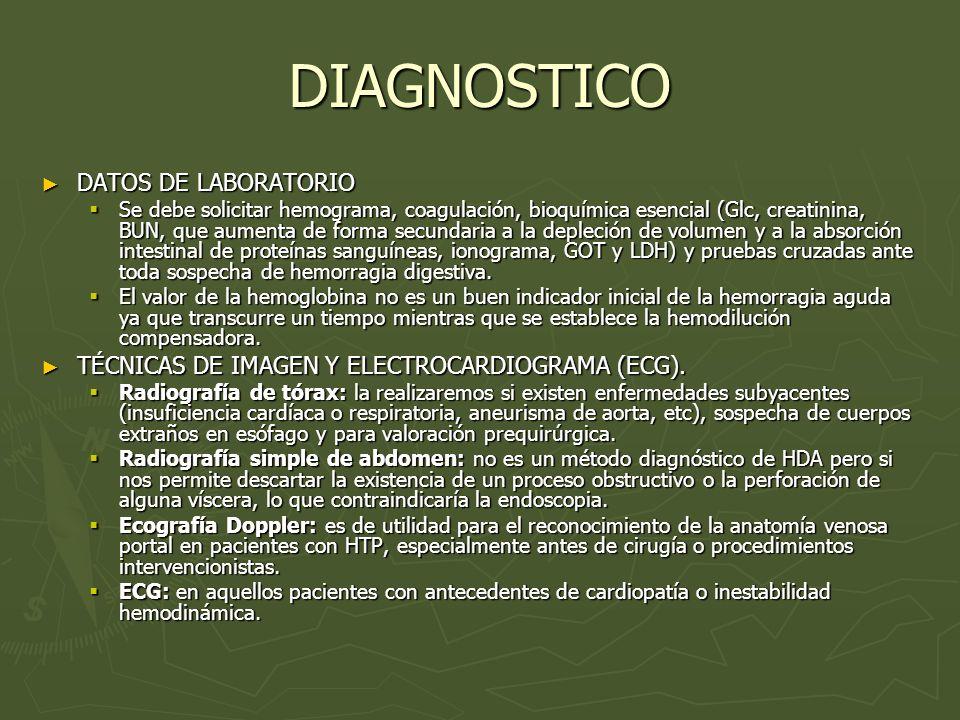 DIAGNOSTICO DATOS DE LABORATORIO DATOS DE LABORATORIO Se debe solicitar hemograma, coagulación, bioquímica esencial (Glc, creatinina, BUN, que aumenta