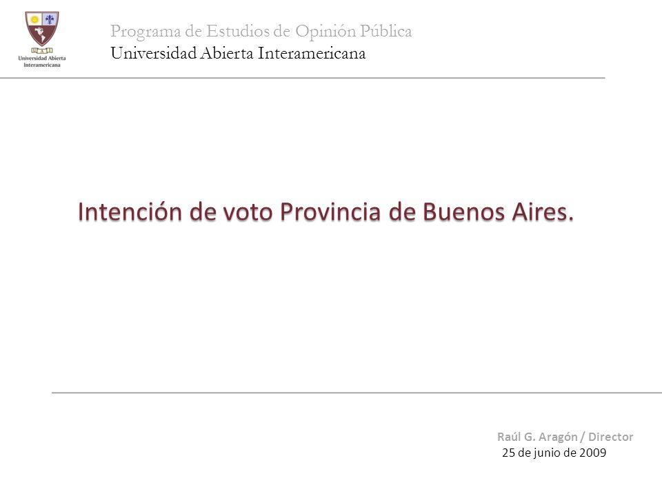 Programa de Estudios de Opinión Pública Universidad Abierta Interamericana Intención de voto Provincia de Buenos Aires. Raúl G. Aragón / Director 25 d