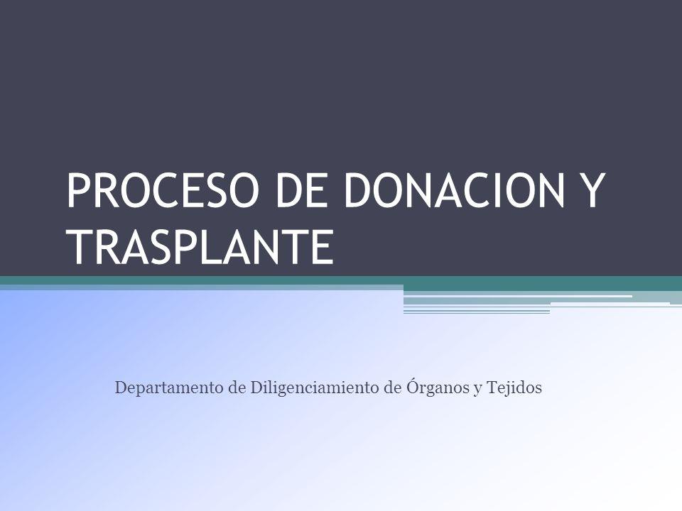 PROCESO DE DONACION Y TRASPLANTE Departamento de Diligenciamiento de Órganos y Tejidos