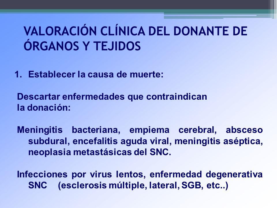VALORACIÓN CLÍNICA DEL DONANTE DE ÓRGANOS Y TEJIDOS 1.Establecer la causa de muerte: Descartar enfermedades que contraindican la donación: Meningitis