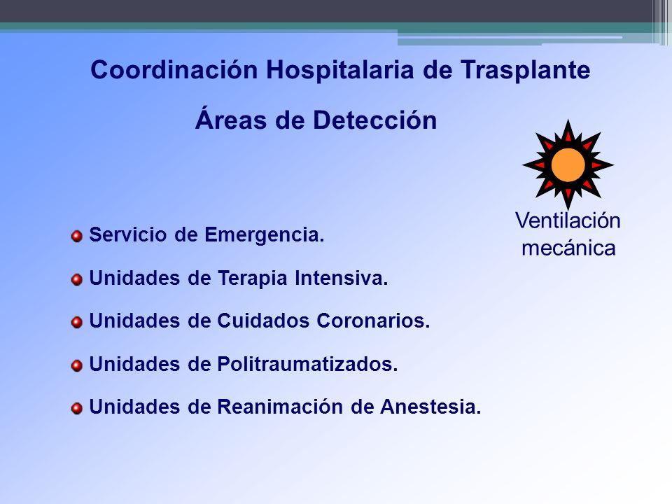 Coordinación Hospitalaria de Trasplante Servicio de Emergencia. Unidades de Terapia Intensiva. Unidades de Cuidados Coronarios. Unidades de Politrauma