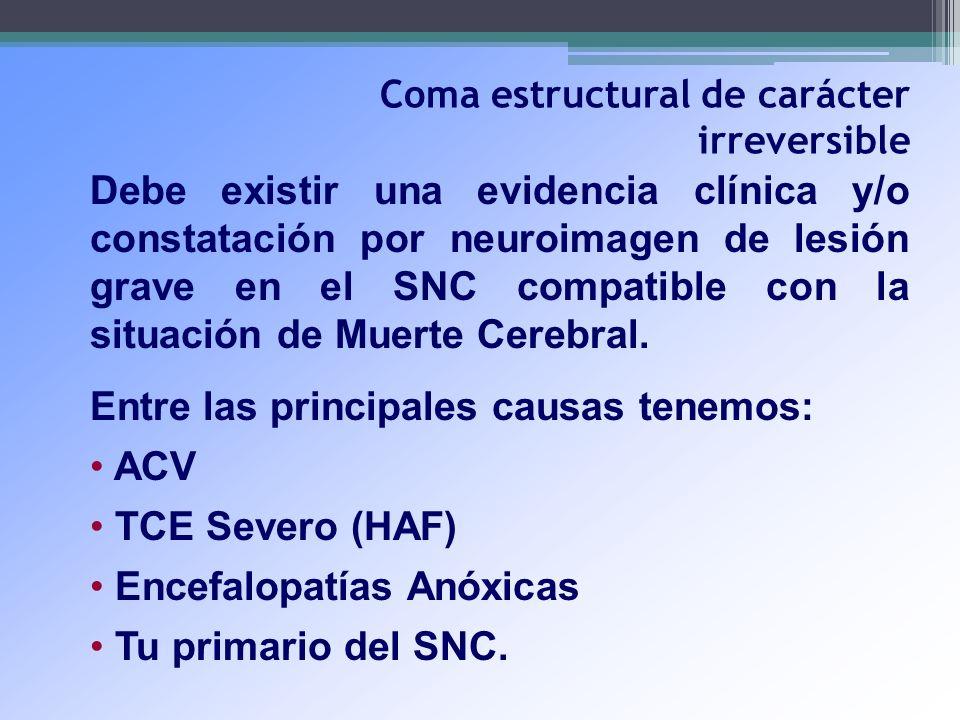 Coma estructural de carácter irreversible Debe existir una evidencia clínica y/o constatación por neuroimagen de lesión grave en el SNC compatible con