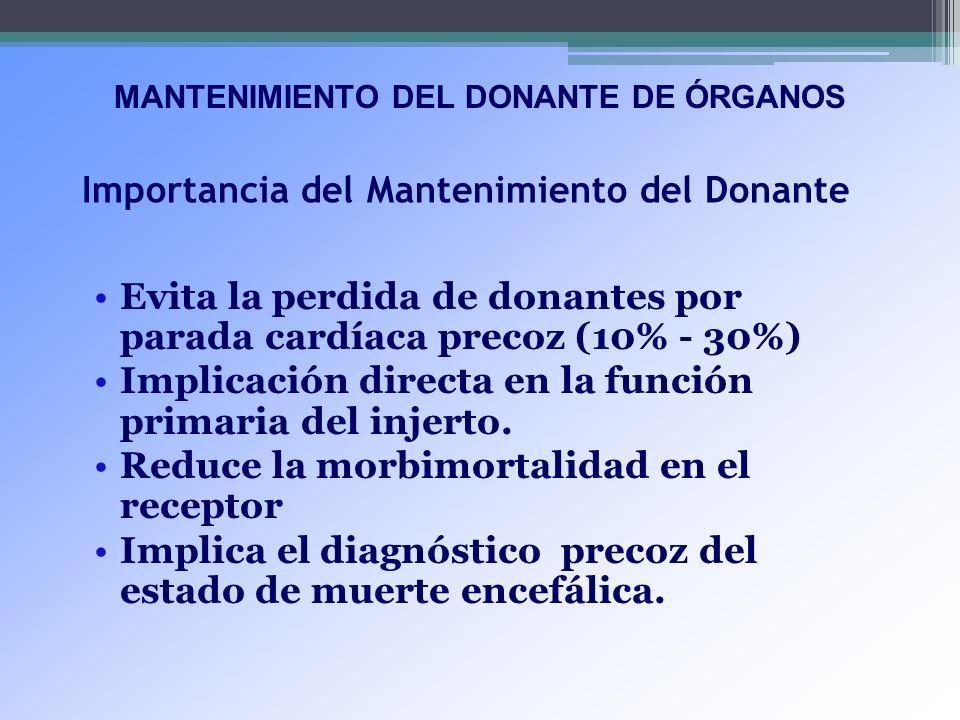 Importancia del Mantenimiento del Donante Evita la perdida de donantes por parada cardíaca precoz (10% - 30%) Implicación directa en la función primar