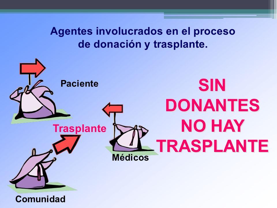 Agentes involucrados en el proceso de donación y trasplante. Trasplante Médicos Paciente Comunidad SIN DONANTES NO HAY TRASPLANTE