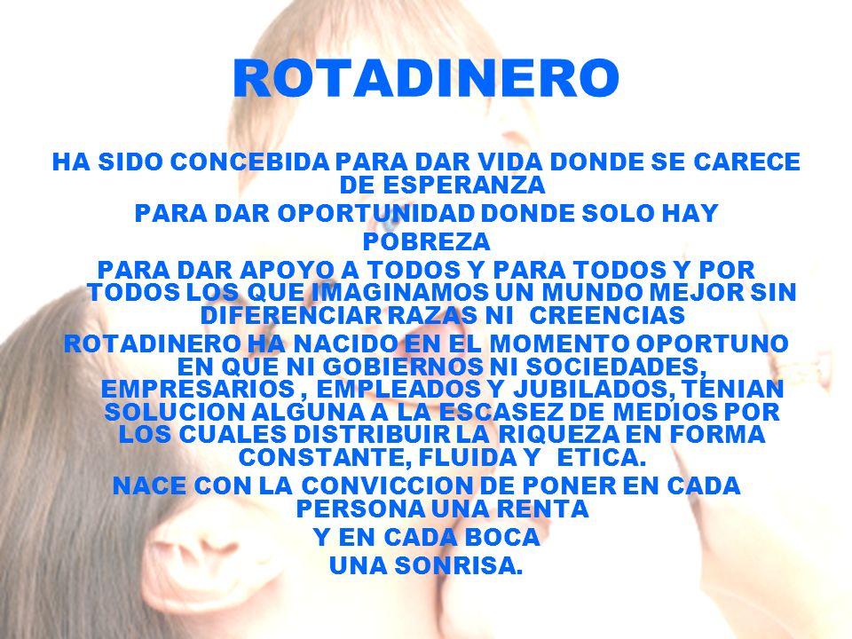 ROTADINERO HA SIDO CONCEBIDA PARA DAR VIDA DONDE SE CARECE DE ESPERANZA PARA DAR OPORTUNIDAD DONDE SOLO HAY POBREZA PARA DAR APOYO A TODOS Y PARA TODOS Y POR TODOS LOS QUE IMAGINAMOS UN MUNDO MEJOR SIN DIFERENCIAR RAZAS NI CREENCIAS ROTADINERO HA NACIDO EN EL MOMENTO OPORTUNO EN QUE NI GOBIERNOS NI SOCIEDADES, EMPRESARIOS, EMPLEADOS Y JUBILADOS, TENIAN SOLUCION ALGUNA A LA ESCASEZ DE MEDIOS POR LOS CUALES DISTRIBUIR LA RIQUEZA EN FORMA CONSTANTE, FLUIDA Y ETICA.