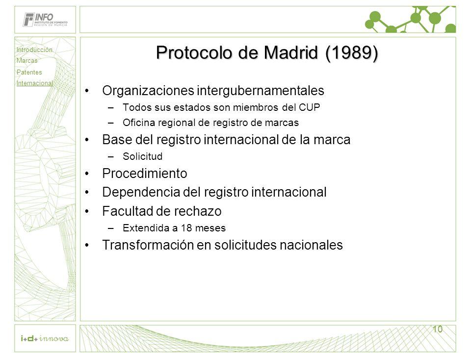 Introducción Marcas Patentes Internacional 10 Protocolo de Madrid (1989) Organizaciones intergubernamentales –Todos sus estados son miembros del CUP –