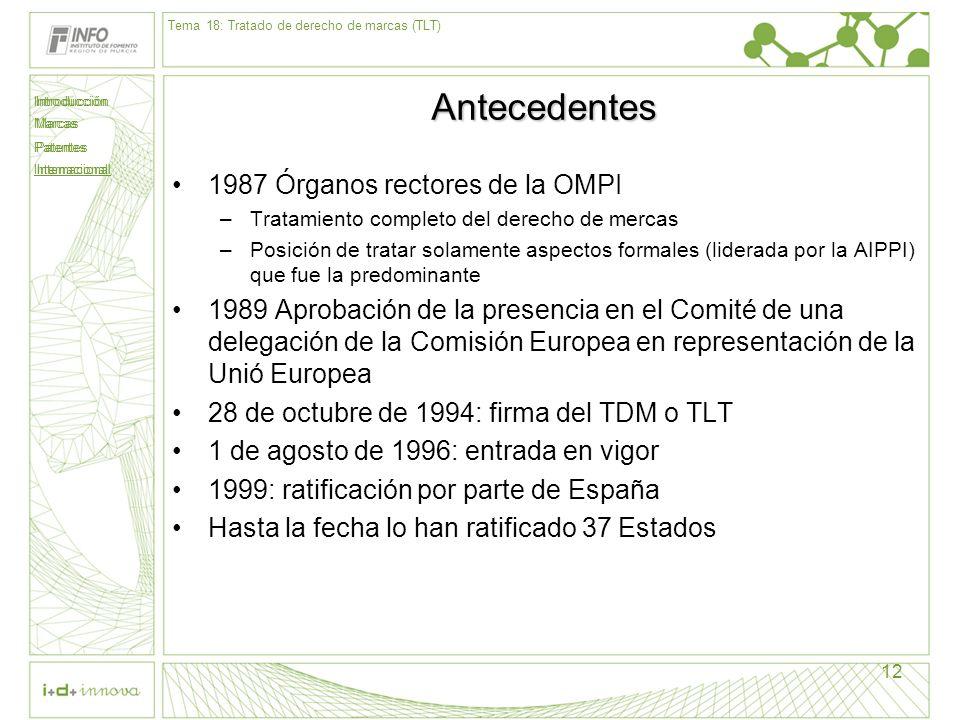 Introducción Marcas Patentes Internacional 12 Antecedentes 1987 Órganos rectores de la OMPI –Tratamiento completo del derecho de mercas –Posición de t