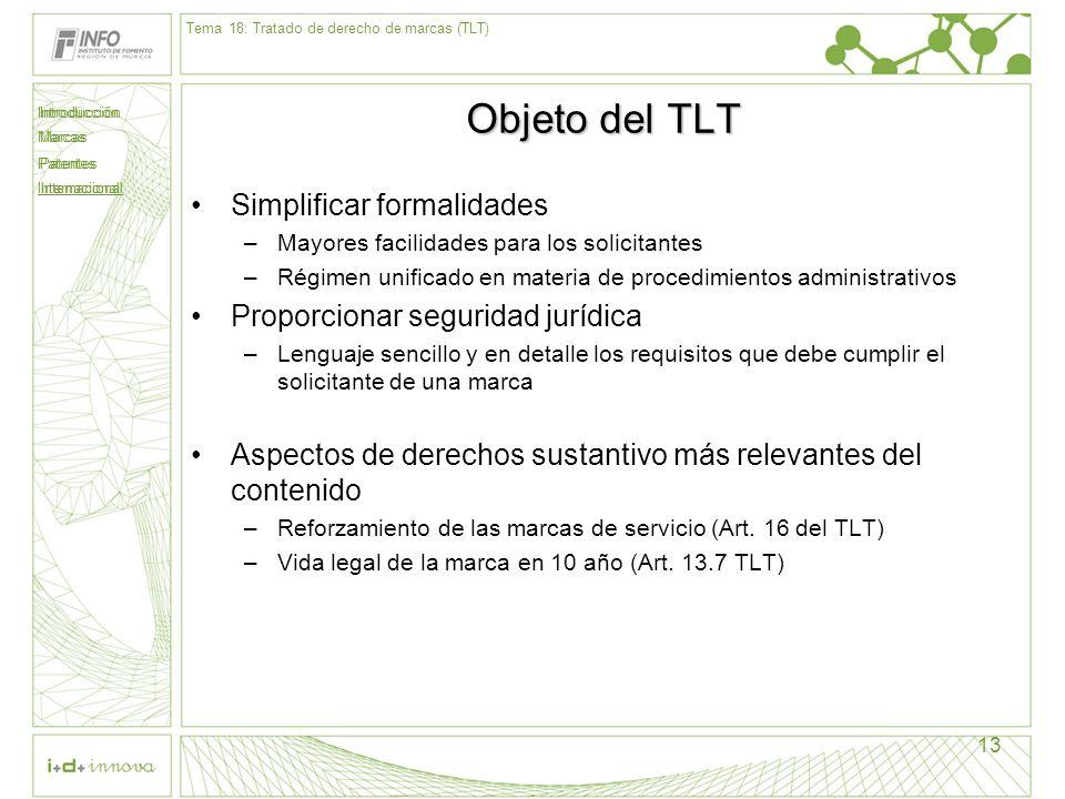 Introducción Marcas Patentes Internacional 13 Objeto del TLT Simplificar formalidades –Mayores facilidades para los solicitantes –Régimen unificado en