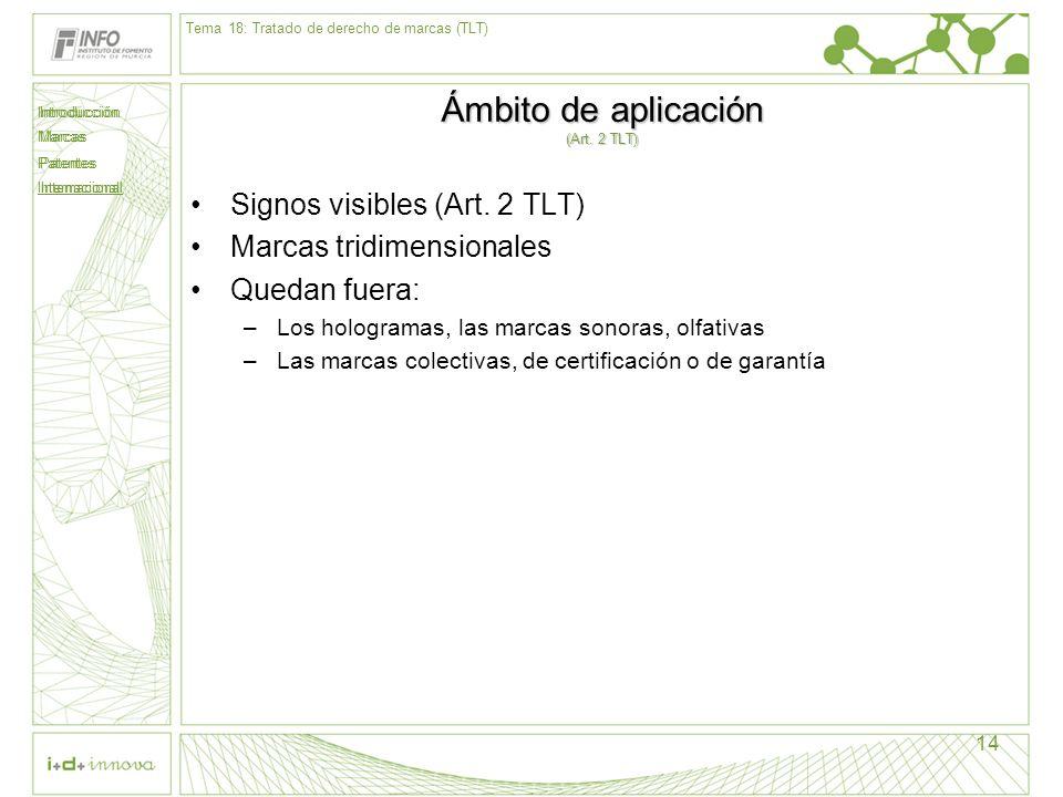 Introducción Marcas Patentes Internacional 14 Ámbito de aplicación (Art. 2 TLT) Signos visibles (Art. 2 TLT) Marcas tridimensionales Quedan fuera: –Lo