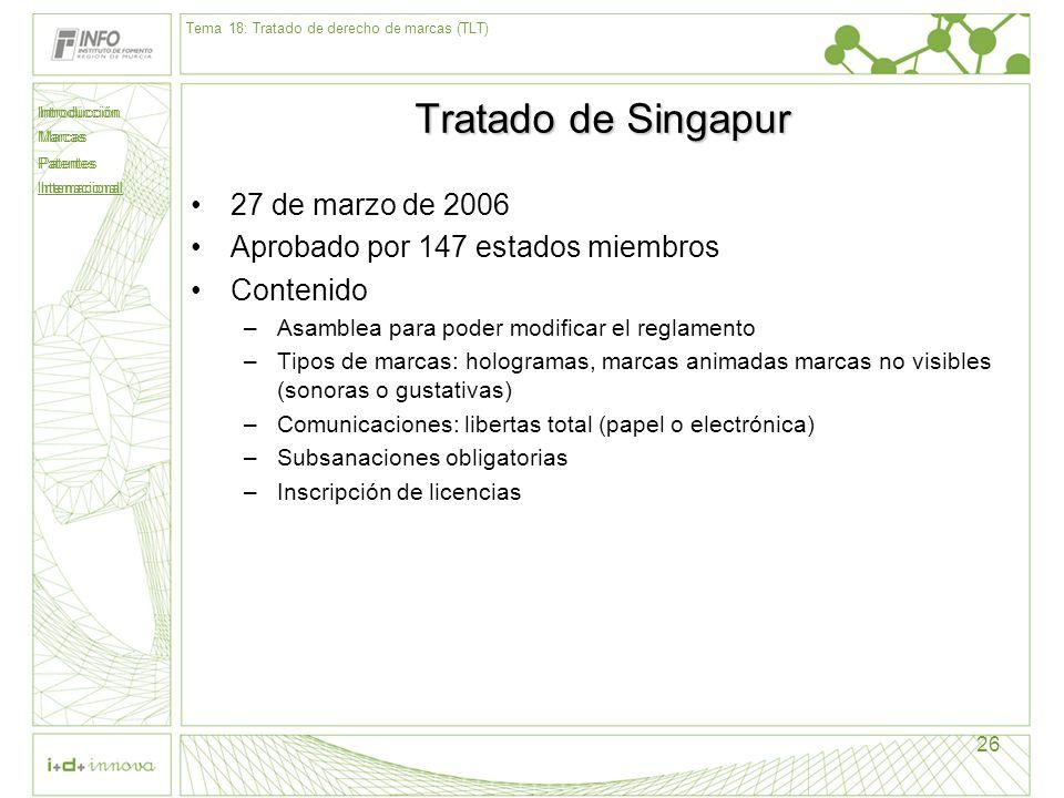 Introducción Marcas Patentes Internacional 26 Tratado de Singapur 27 de marzo de 2006 Aprobado por 147 estados miembros Contenido –Asamblea para poder