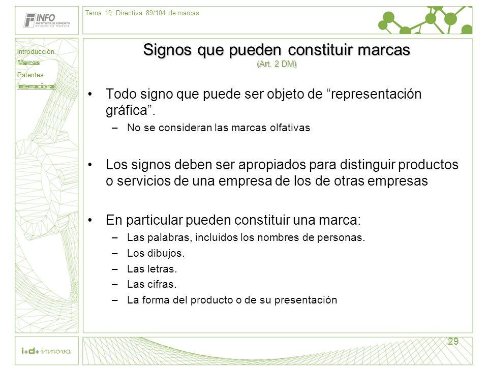 Introducción Marcas Patentes Internacional 29 Signos que pueden constituir marcas (Art. 2 DM) Todo signo que puede ser objeto de representación gráfic