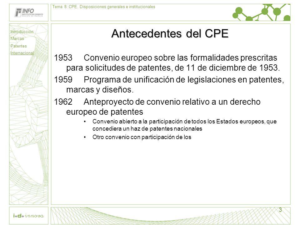 Introducción Marcas Patentes Internacional 3 Antecedentes del CPE 1953Convenio europeo sobre las formalidades prescritas para solicitudes de patentes,