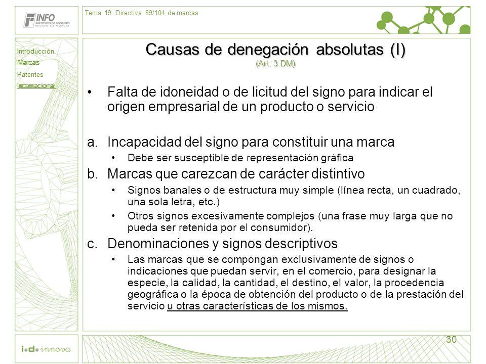 Introducción Marcas Patentes Internacional 30 Causas de denegación absolutas (I) (Art. 3 DM) Falta de idoneidad o de licitud del signo para indicar el