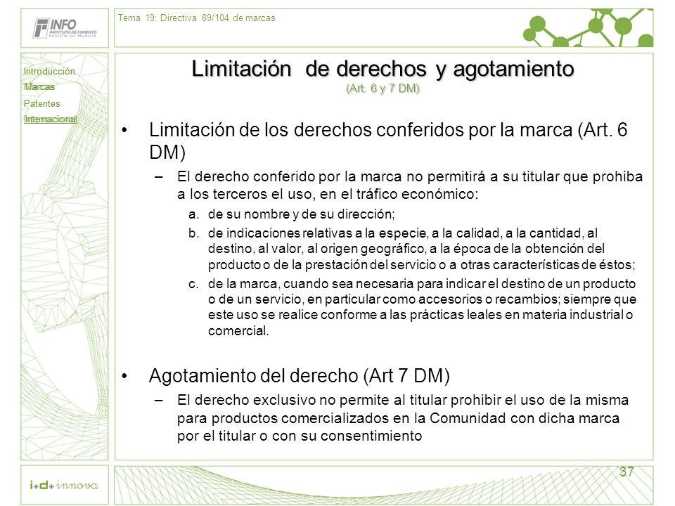 Introducción Marcas Patentes Internacional 37 Limitación de derechos y agotamiento (Art. 6 y 7 DM) Limitación de los derechos conferidos por la marca