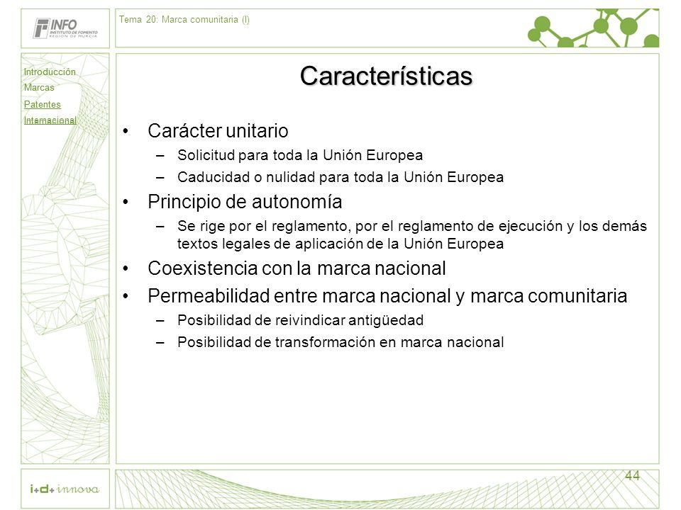 Introducción Marcas Patentes Internacional 44 Características Carácter unitario –Solicitud para toda la Unión Europea –Caducidad o nulidad para toda l
