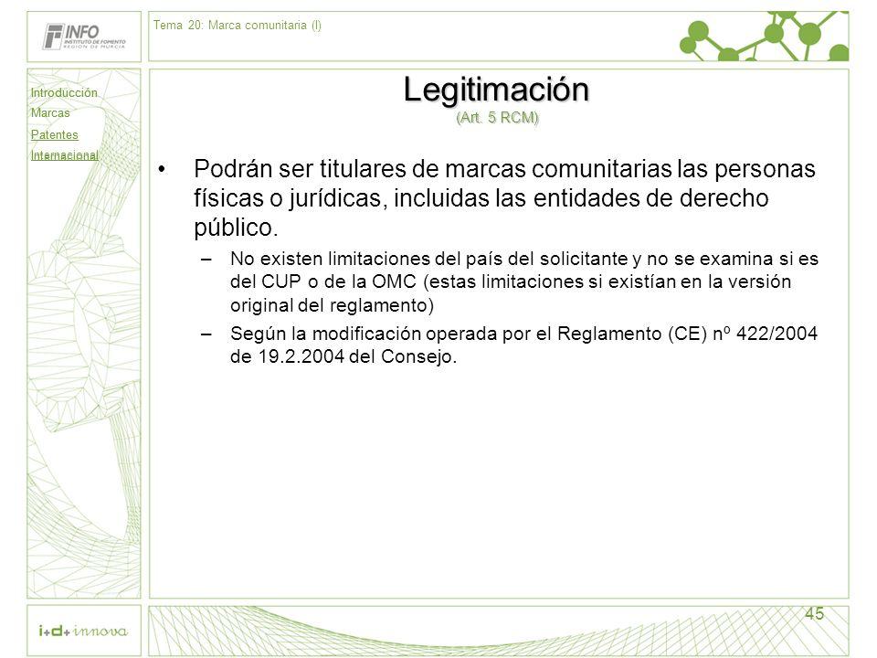 Introducción Marcas Patentes Internacional 45 Legitimación (Art. 5 RCM) Podrán ser titulares de marcas comunitarias las personas físicas o jurídicas,