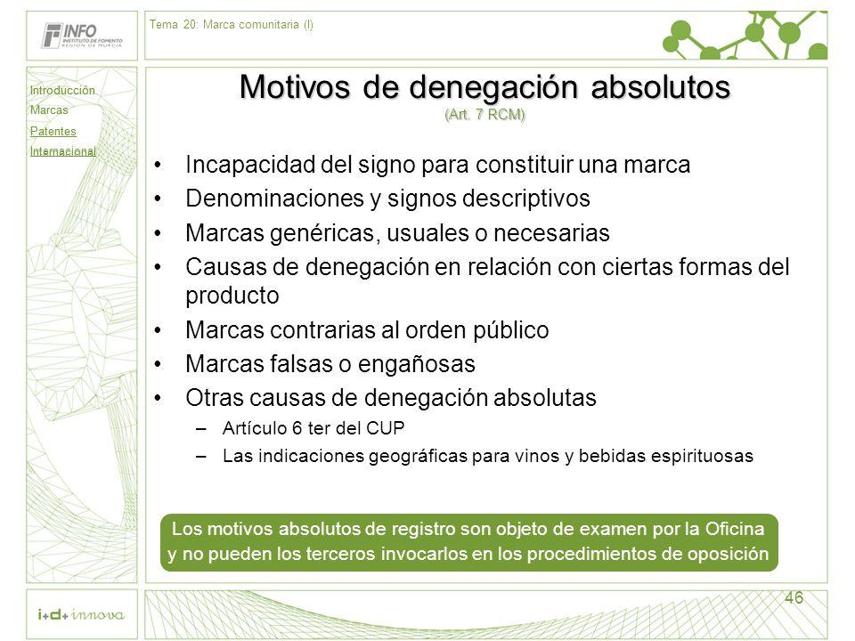 Introducción Marcas Patentes Internacional 46 Motivos de denegación absolutos (Art. 7 RCM) Incapacidad del signo para constituir una marca Denominacio