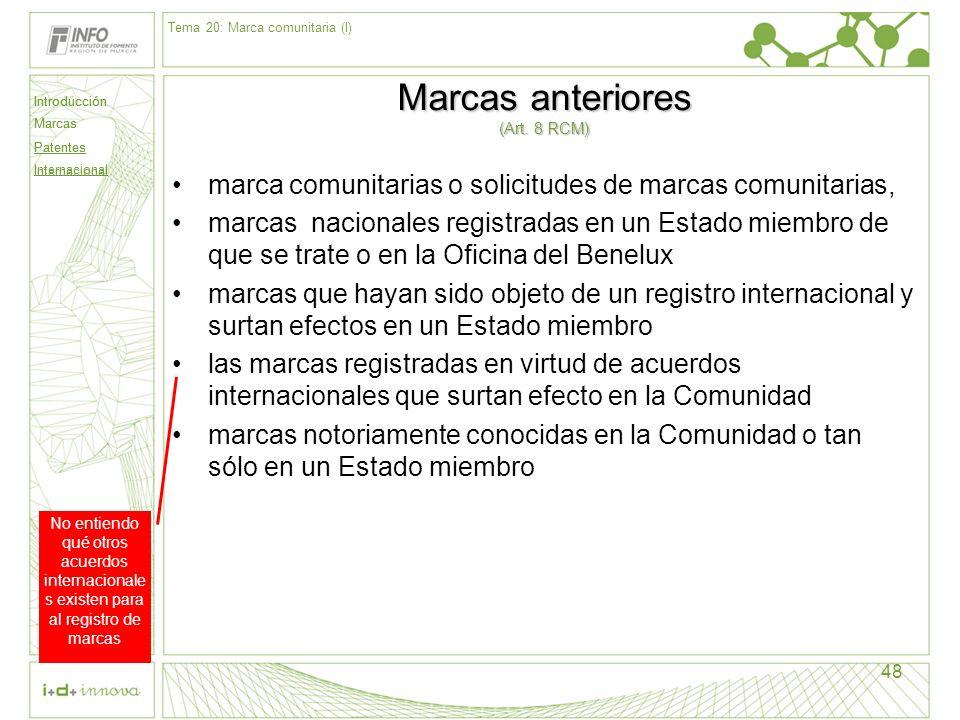 Introducción Marcas Patentes Internacional 48 Marcas anteriores (Art. 8 RCM) marca comunitarias o solicitudes de marcas comunitarias, marcas nacionale
