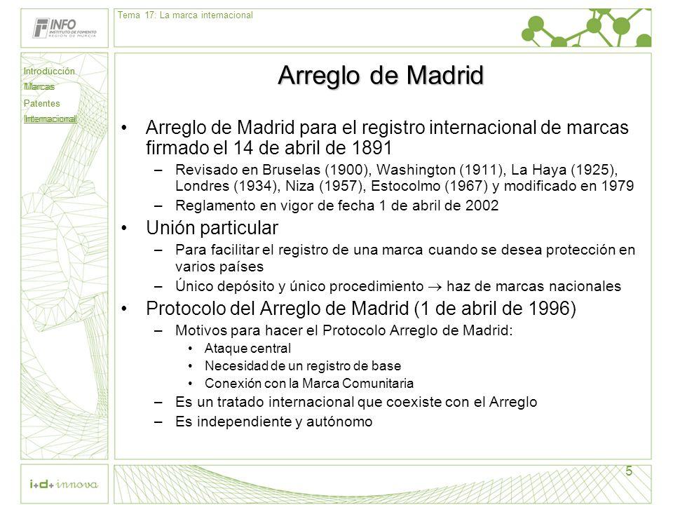 Introducción Marcas Patentes Internacional 5 Arreglo de Madrid Arreglo de Madrid para el registro internacional de marcas firmado el 14 de abril de 18
