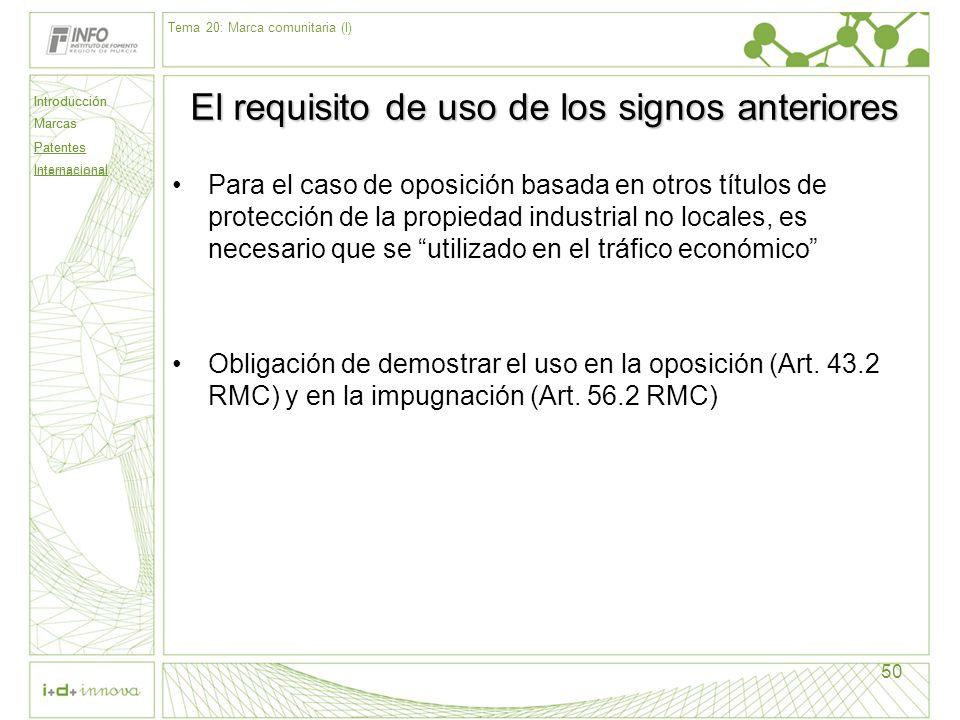 Introducción Marcas Patentes Internacional 50 El requisito de uso de los signos anteriores Para el caso de oposición basada en otros títulos de protec