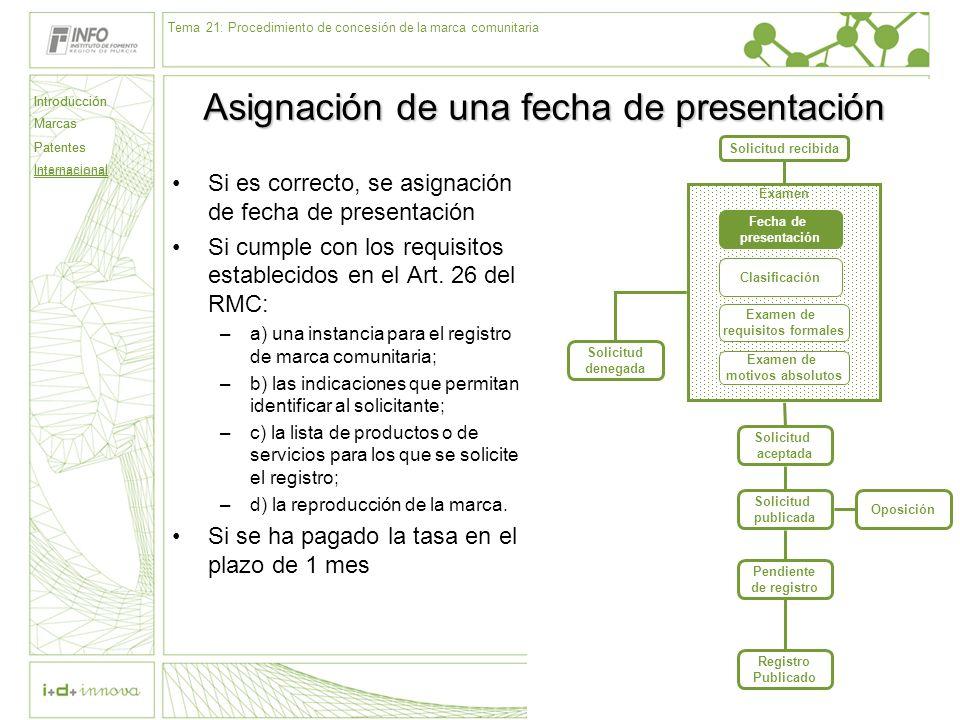 Introducción Marcas Patentes Internacional 59 Solicitud recibida Examen Fecha de presentación Clasificación Examen de requisitos formales Examen de mo