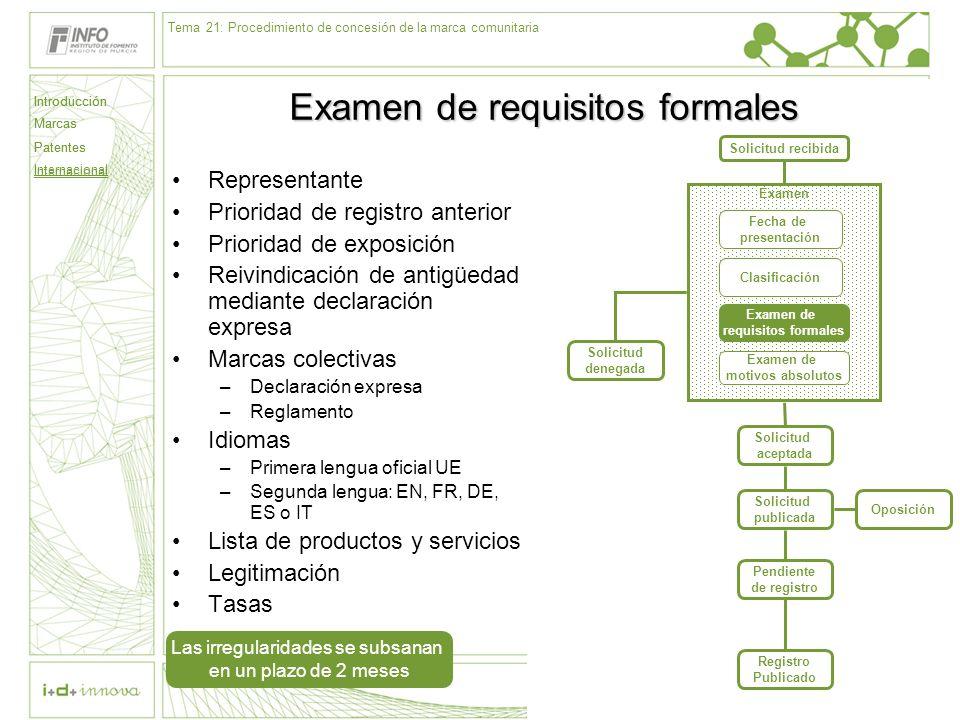 Introducción Marcas Patentes Internacional 60 Solicitud recibida Examen Fecha de presentación Clasificación Examen de requisitos formales Examen de mo