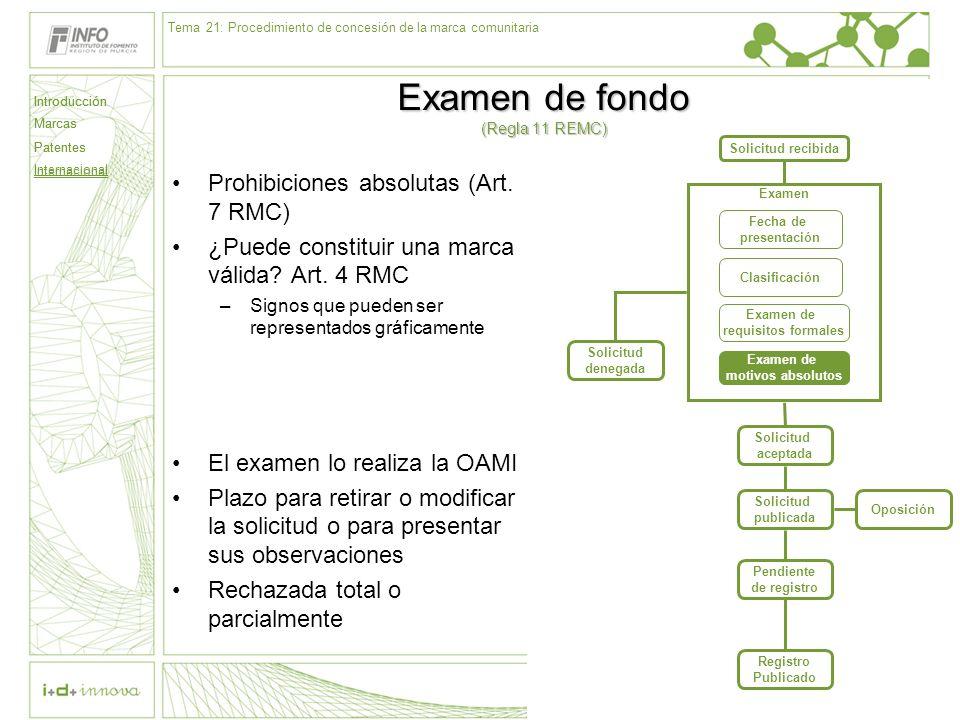 Introducción Marcas Patentes Internacional 61 Solicitud recibida Examen Fecha de presentación Clasificación Examen de requisitos formales Examen de mo