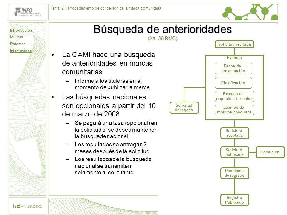 Introducción Marcas Patentes Internacional 62 Solicitud recibida Examen Fecha de presentación Clasificación Examen de requisitos formales Examen de mo