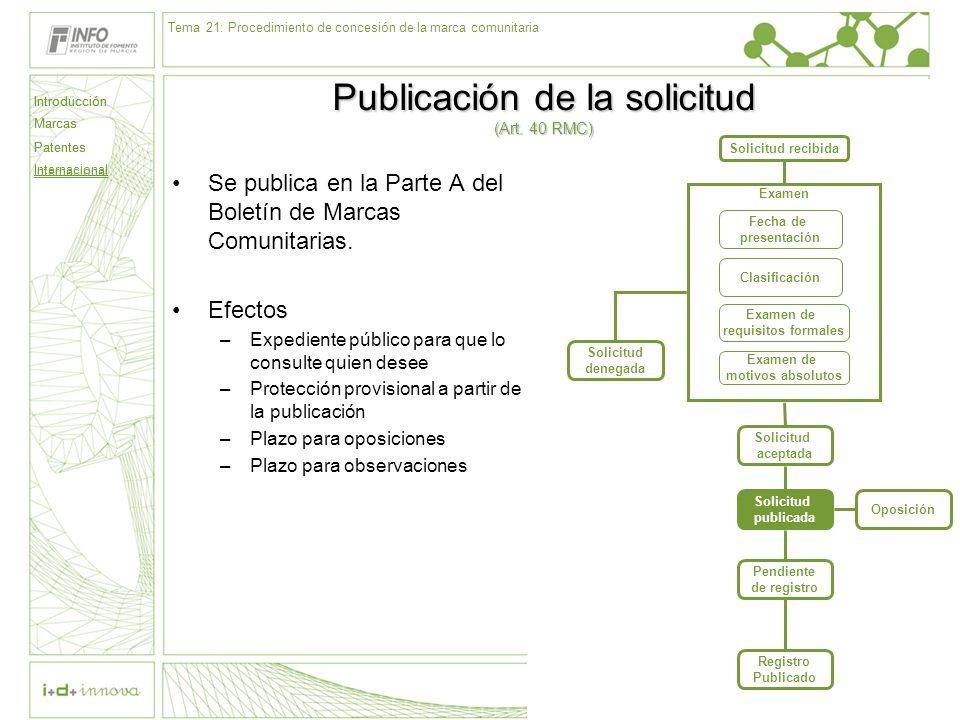 Introducción Marcas Patentes Internacional 63 Solicitud recibida Examen Fecha de presentación Clasificación Examen de requisitos formales Examen de mo