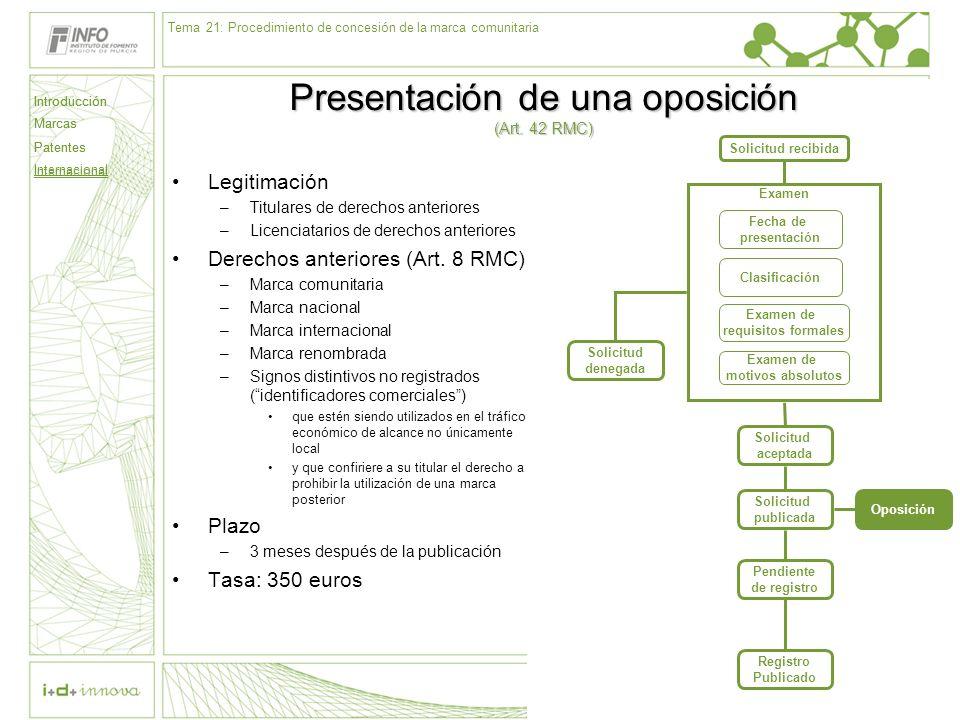 Introducción Marcas Patentes Internacional 66 Solicitud recibida Examen Fecha de presentación Clasificación Examen de requisitos formales Examen de mo