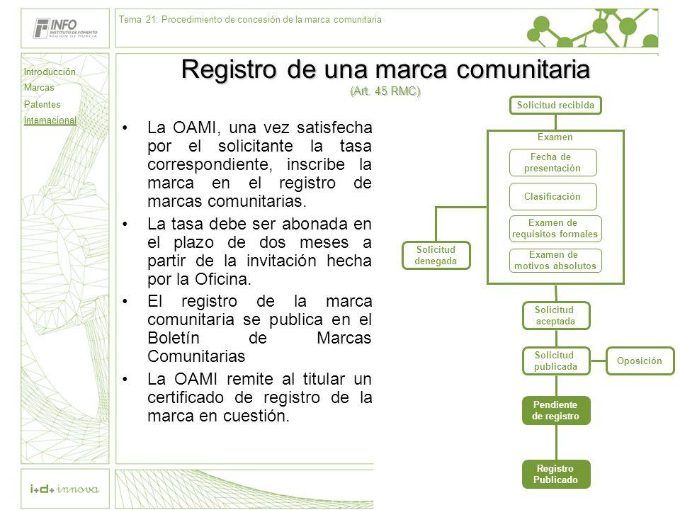Introducción Marcas Patentes Internacional 69 Solicitud recibida Examen Fecha de presentación Clasificación Examen de requisitos formales Examen de mo