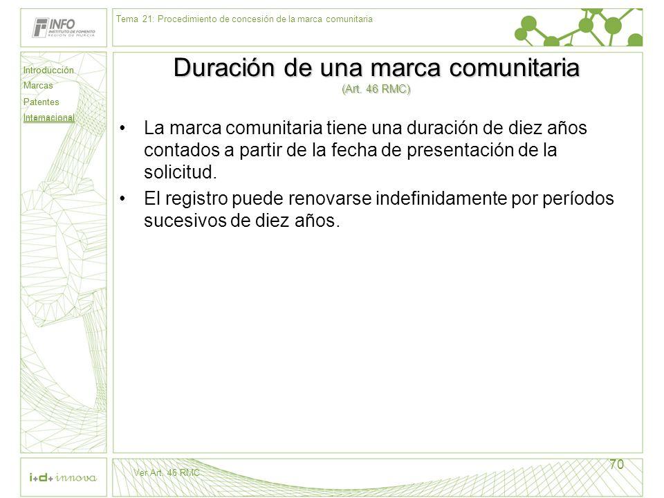 Introducción Marcas Patentes Internacional 70 Duración de una marca comunitaria (Art. 46 RMC) La marca comunitaria tiene una duración de diez años con