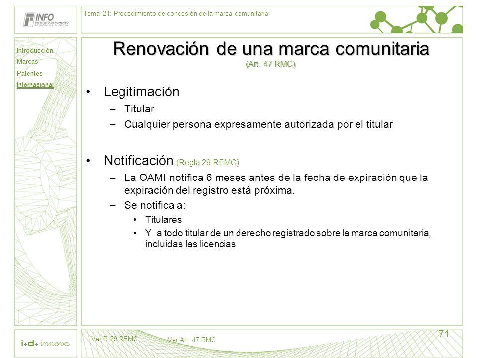 Introducción Marcas Patentes Internacional 71 Renovación de una marca comunitaria (Art. 47 RMC) Legitimación –Titular –Cualquier persona expresamente