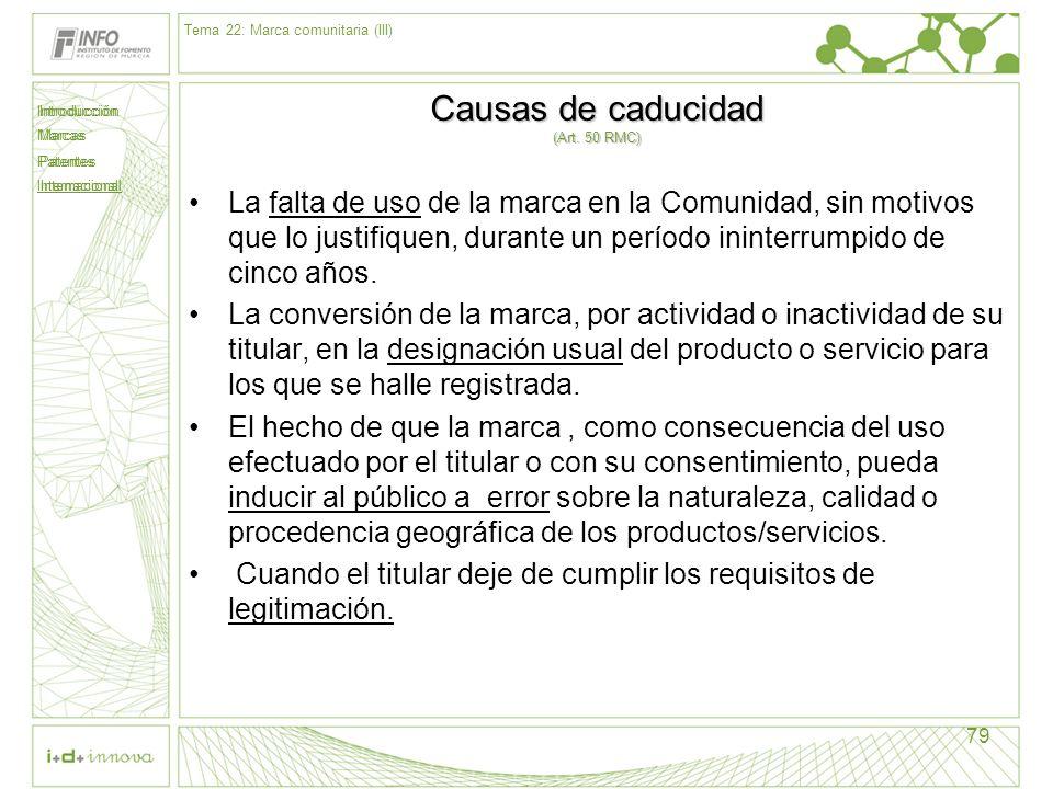 Introducción Marcas Patentes Internacional 79 Causas de caducidad (Art. 50 RMC) La falta de uso de la marca en la Comunidad, sin motivos que lo justif