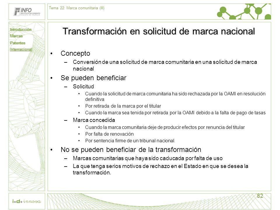 Introducción Marcas Patentes Internacional 82 Transformación en solicitud de marca nacional Concepto –Conversión de una solicitud de marca comunitaria