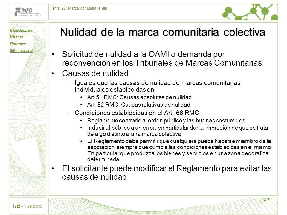 Introducción Marcas Patentes Internacional 87 Nulidad de la marca comunitaria colectiva Solicitud de nulidad a la OAMI o demanda por reconvención en l