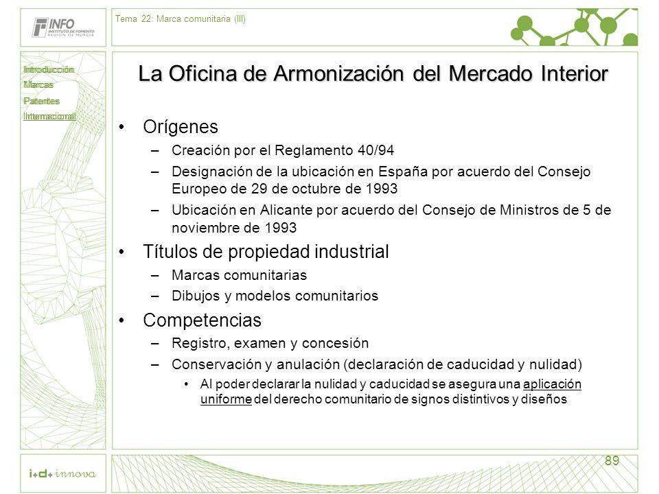 Introducción Marcas Patentes Internacional 89 La Oficina de Armonización del Mercado Interior Orígenes –Creación por el Reglamento 40/94 –Designación