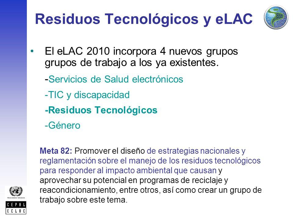 Residuos Tecnológicos y eLAC El eLAC 2010 incorpora 4 nuevos grupos grupos de trabajo a los ya existentes.