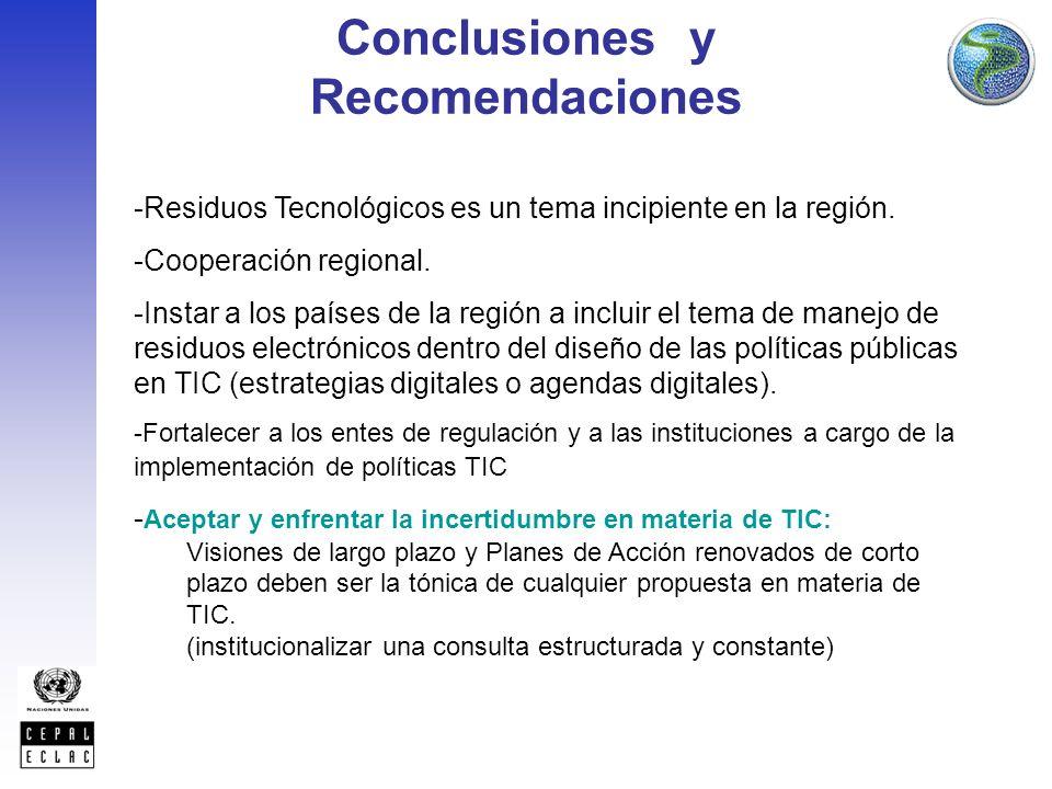 Conclusiones y Recomendaciones -Residuos Tecnológicos es un tema incipiente en la región.