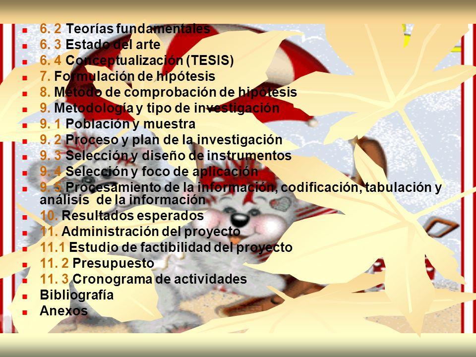 6. 2 Teorías fundamentales 6. 3 Estado del arte 6. 4 Conceptualización (TESIS) 7. Formulación de hipótesis 8. Método de comprobación de hipótesis 9. M