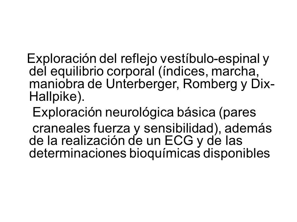 Exploración del reflejo vestíbulo-espinal y del equilibrio corporal (índices, marcha, maniobra de Unterberger, Romberg y Dix- Hallpike). Exploración n