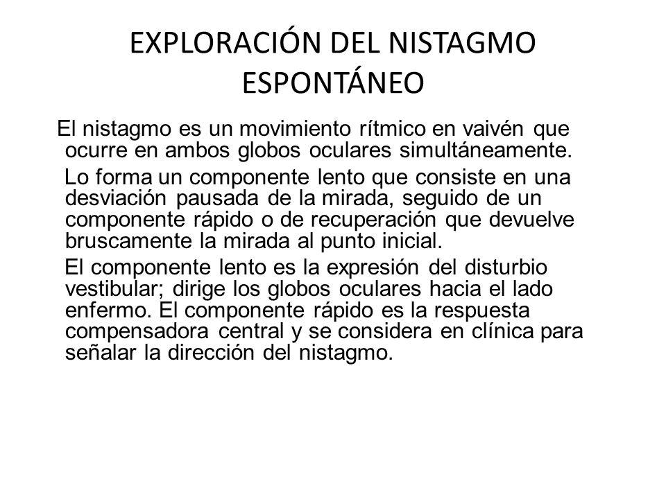 EXPLORACIÓN DEL NISTAGMO ESPONTÁNEO El nistagmo es un movimiento rítmico en vaivén que ocurre en ambos globos oculares simultáneamente. Lo forma un co