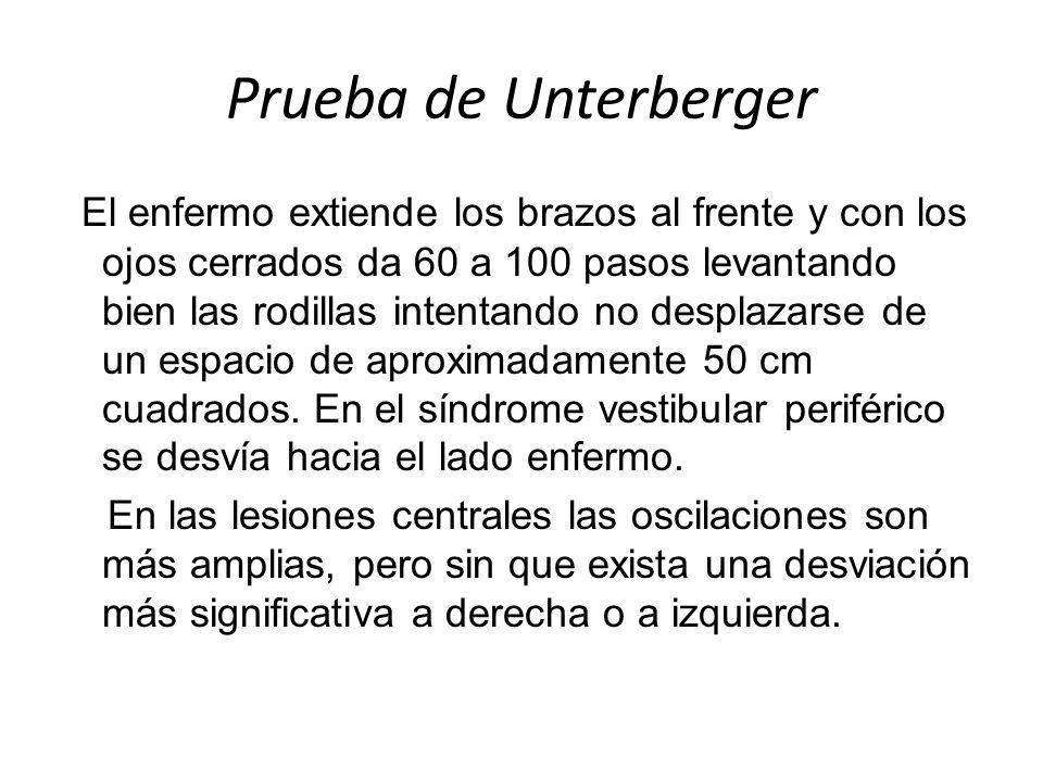 Prueba de Unterberger El enfermo extiende los brazos al frente y con los ojos cerrados da 60 a 100 pasos levantando bien las rodillas intentando no de