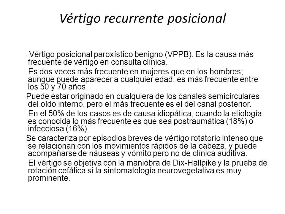 Vértigo recurrente posicional - Vértigo posicional paroxístico benigno (VPPB). Es la causa más frecuente de vértigo en consulta clínica. Es dos veces