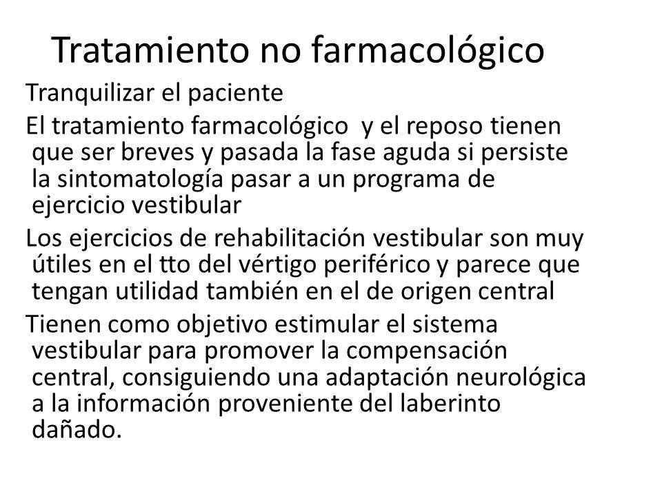 Tratamiento no farmacológico Tranquilizar el paciente El tratamiento farmacológico y el reposo tienen que ser breves y pasada la fase aguda si persist